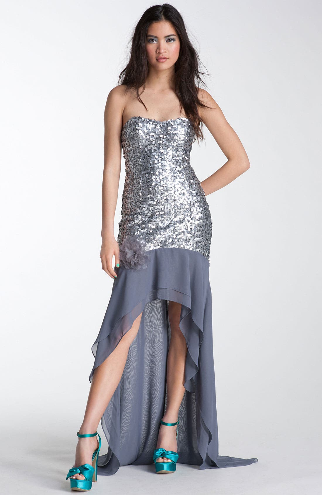 Main Image - Way-In Strapless Sequin Chiffon Trane Gown (Juniors)