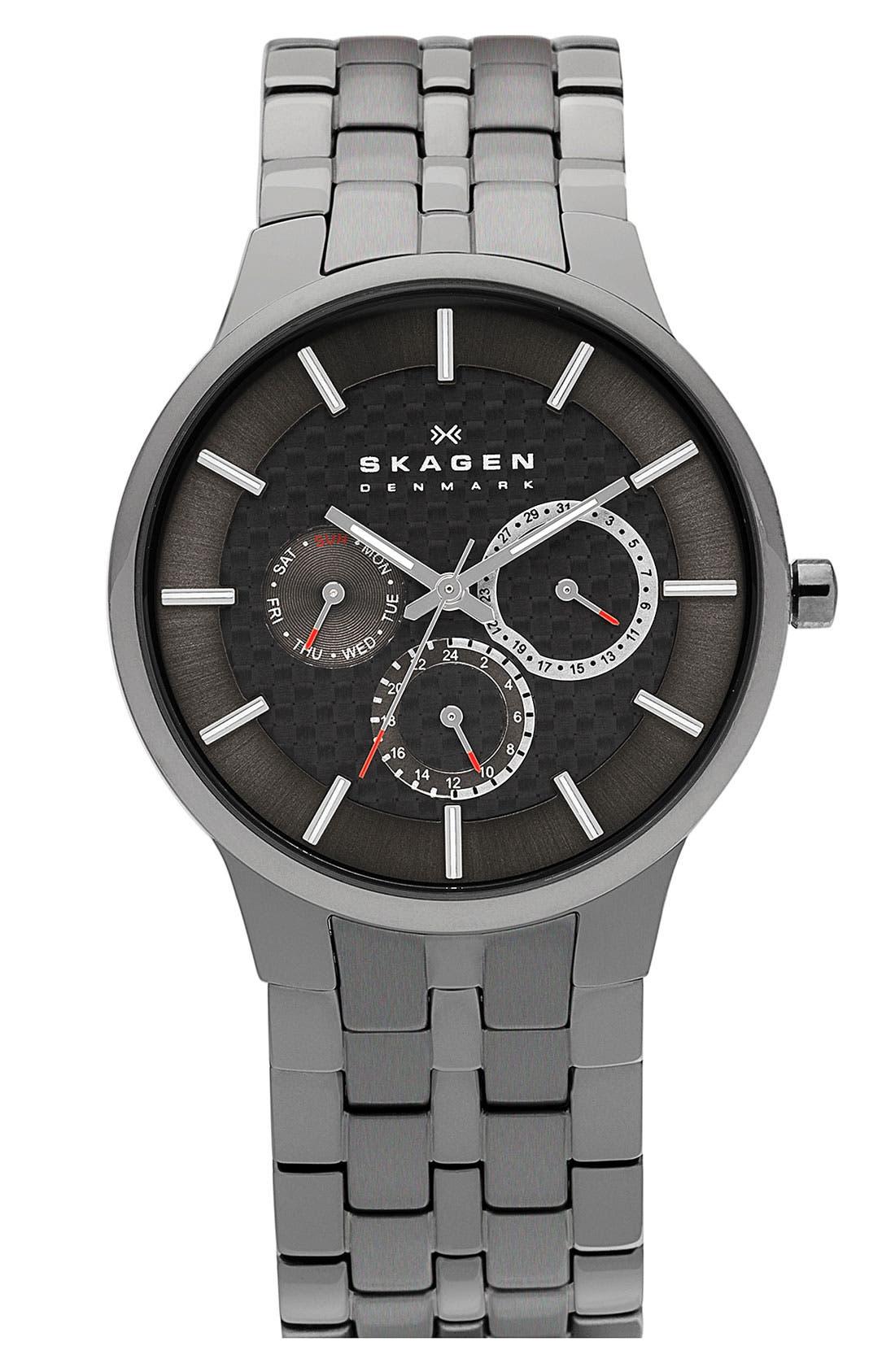 Alternate Image 1 Selected - Skagen Round Multifunction Bracelet Watch