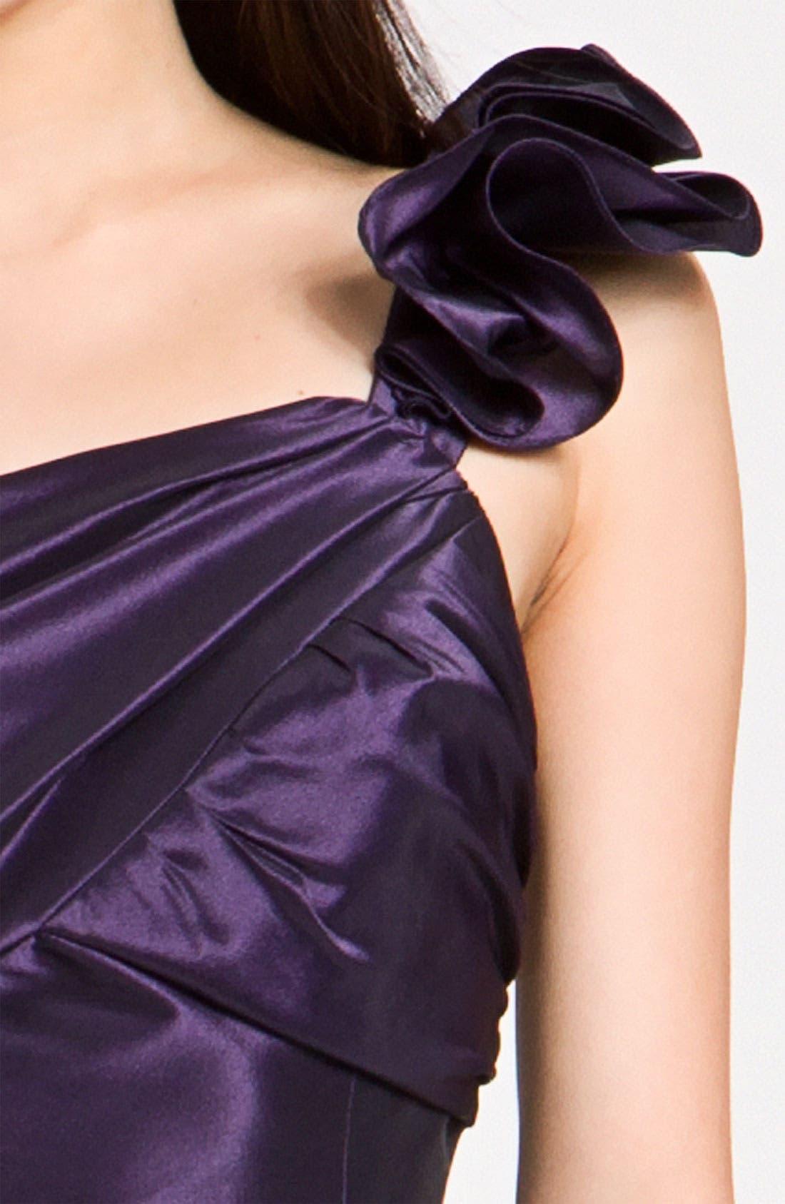 Alternate Image 3  - Amsale Ruffle Shoulder Taffeta Gown