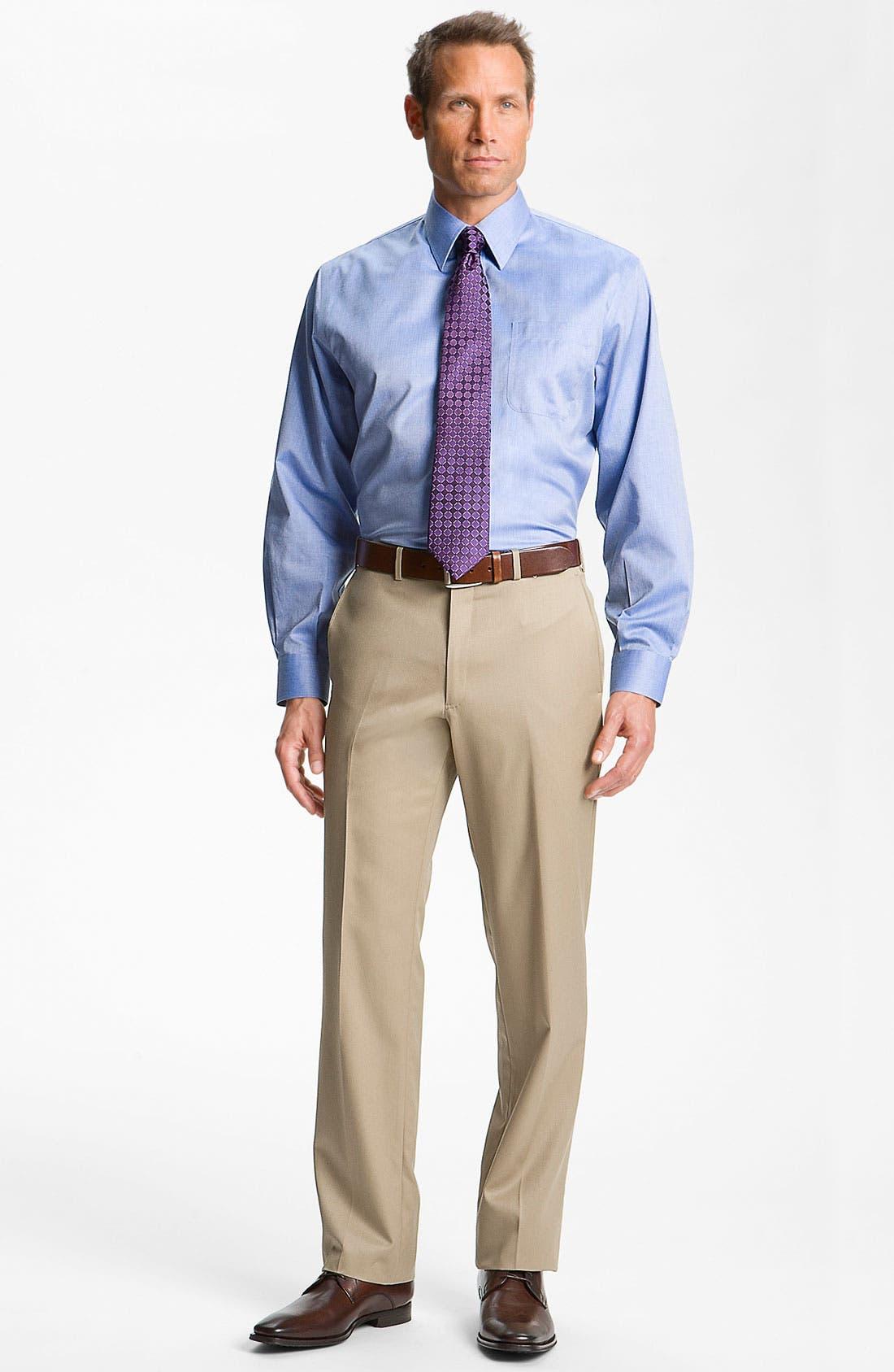 Alternate Image 7  - Nordstrom Men's Shop Smartcare™ Wrinkle Free Traditional Fit Herringbone Dress Shirt