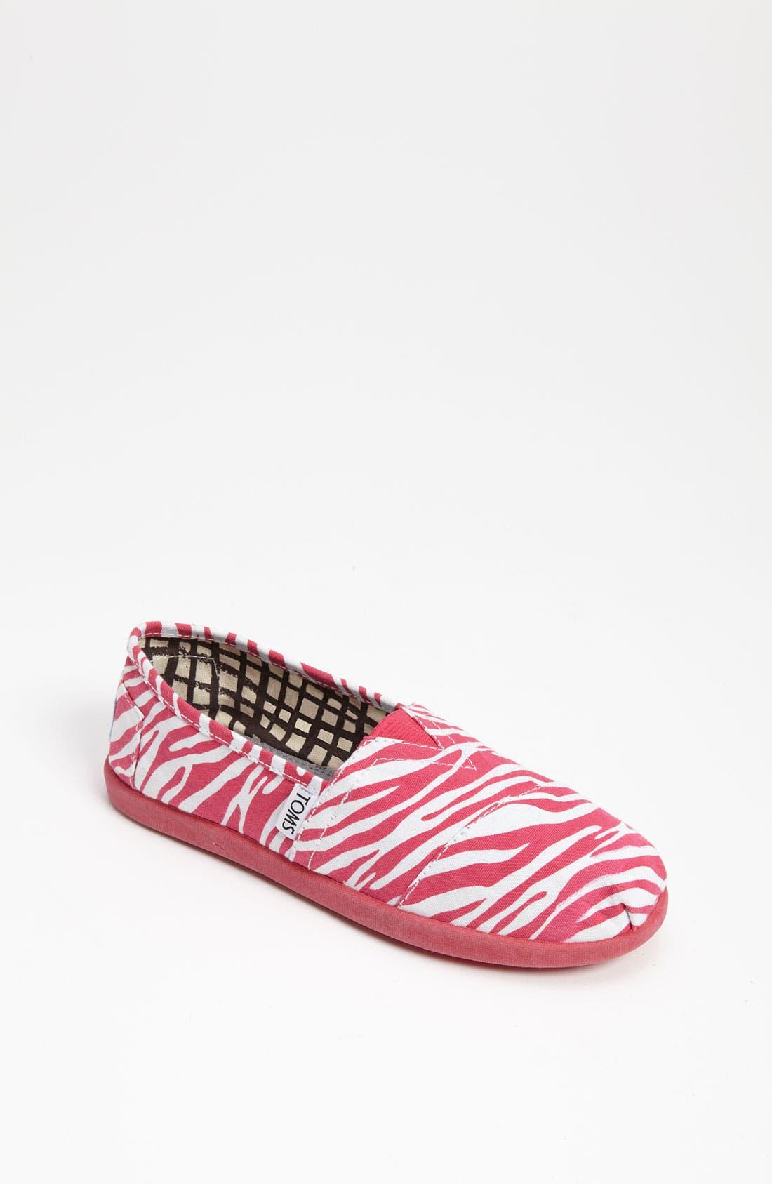 Main Image - TOMS 'Berry Zebra - Youth' Slip-On (Toddler, Little Kid & Big Kid)