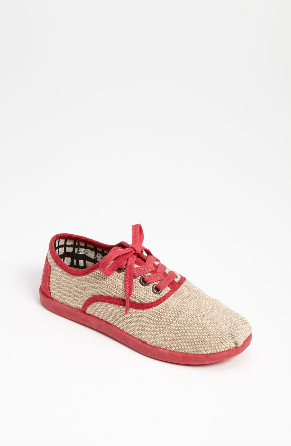 Main Image - TOMS 'Cordones Youth - Maddox' Burlap Sneaker (Toddler, Little Kid & Big Kid)