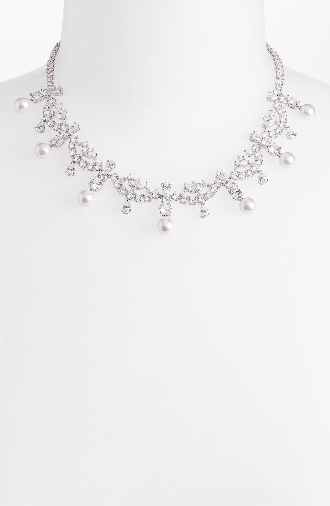 Alternate Image 1 Selected - Nadri Simulated Pearl & Cubic Zirconia Necklace