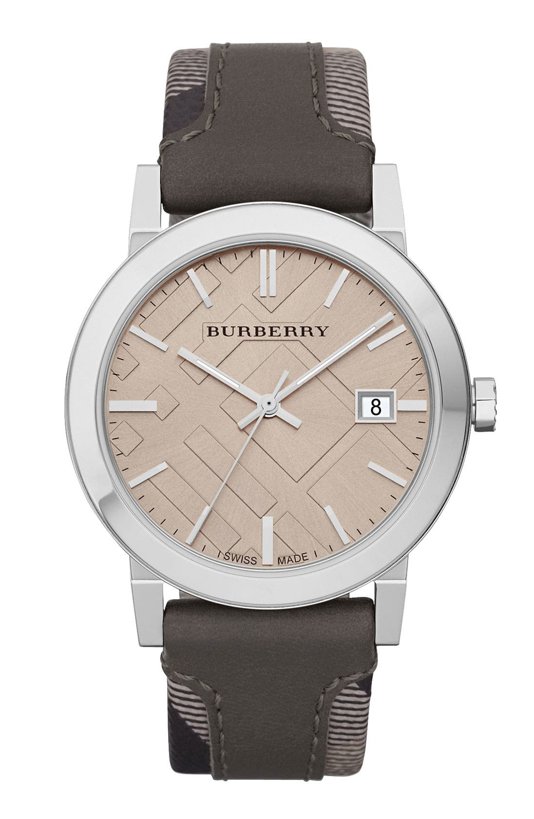 Main Image - Burberry Check Stamped Leather Strap Watch