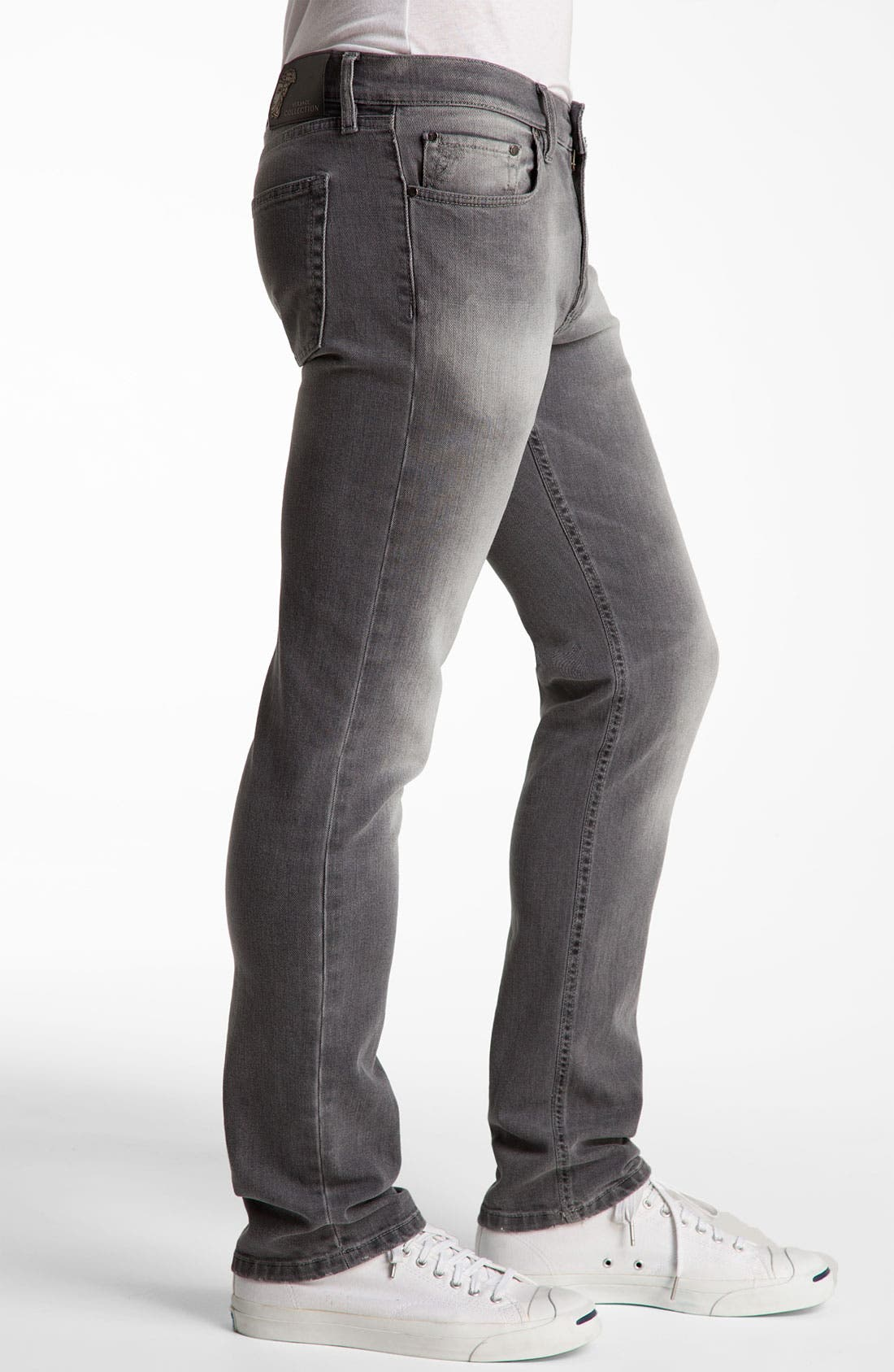 Alternate Image 3  - Versace Slim Straight Jeans (Grey)