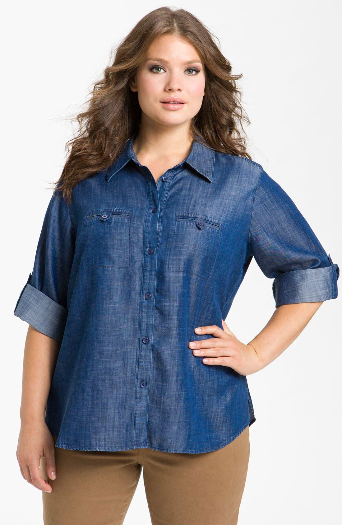 Main Image - Foxcroft Roll Sleeve Denim Shirt (Plus Size)