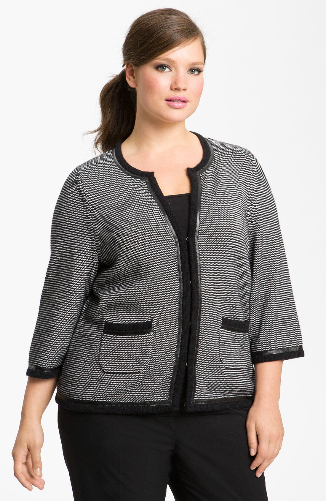 Alternate Image 4  - Sejour Leather Trim Sweater Jacket (Plus)