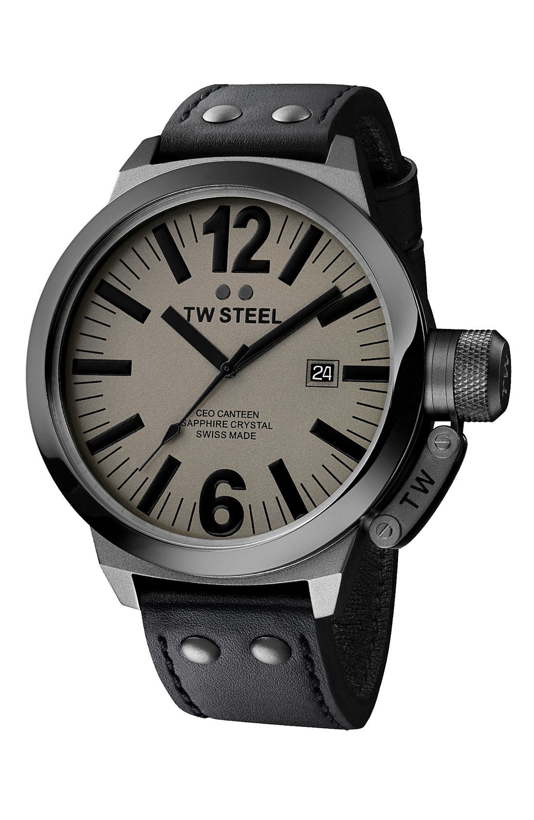Main Image - TW Steel 'CEO Canteen - Extra Large' Leather Strap Watch