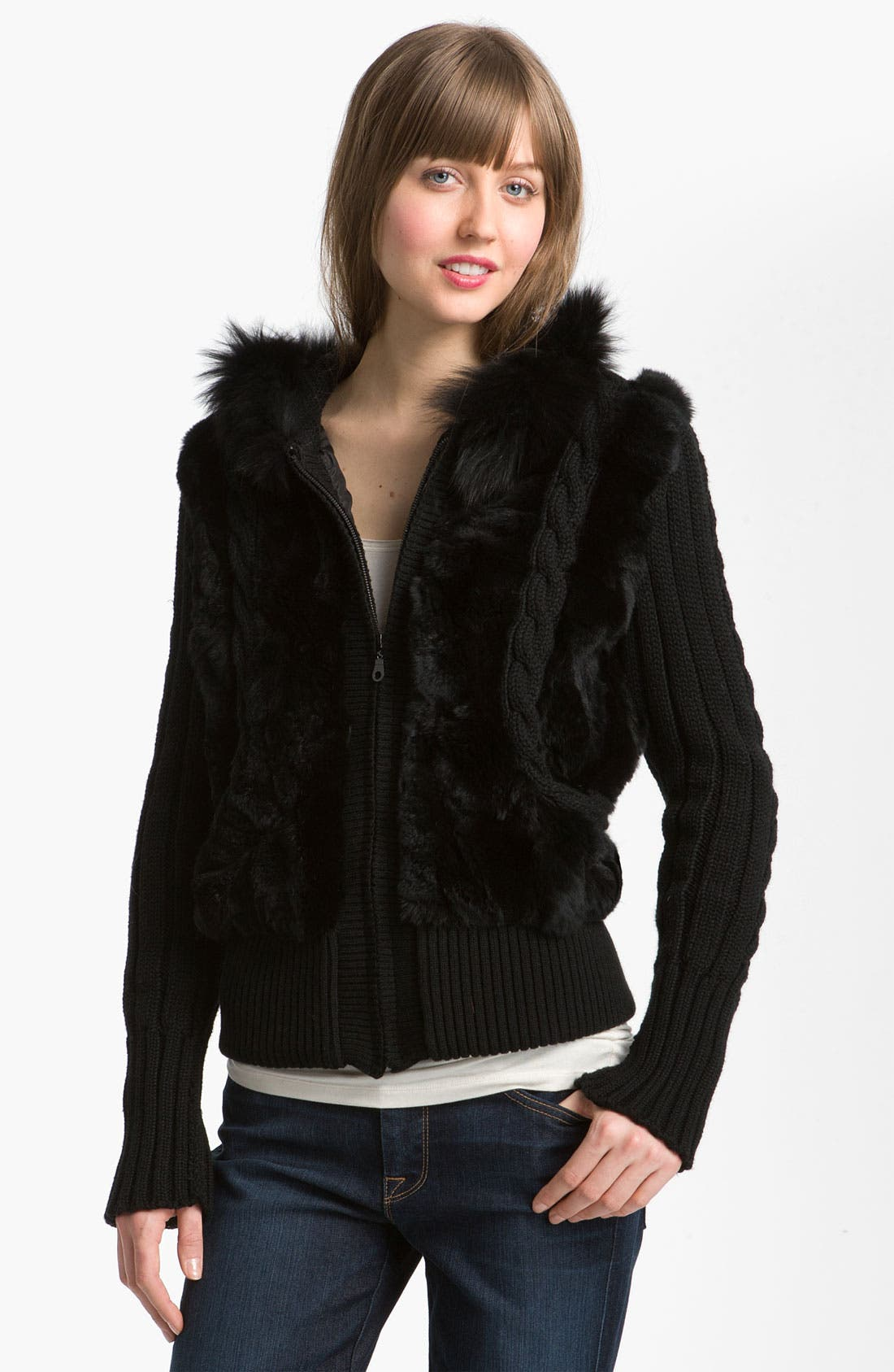 Alternate Image 1 Selected - Laundry by Shelli Segal Genuine Fur Trim Hooded Knit Jacket