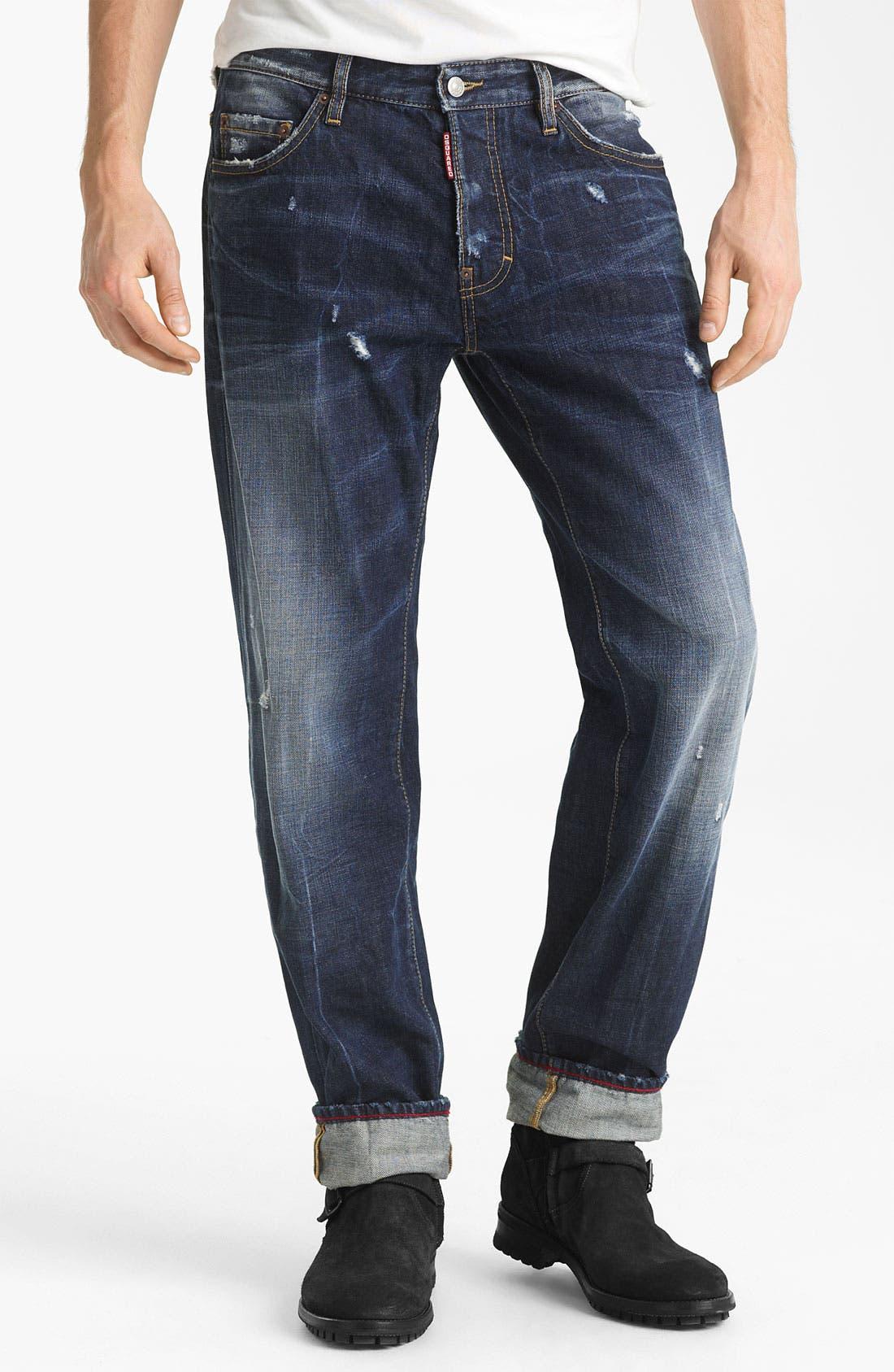 Alternate Image 2  - Dsquared2 'Dean' Straight Leg Jeans (Blue Wash)