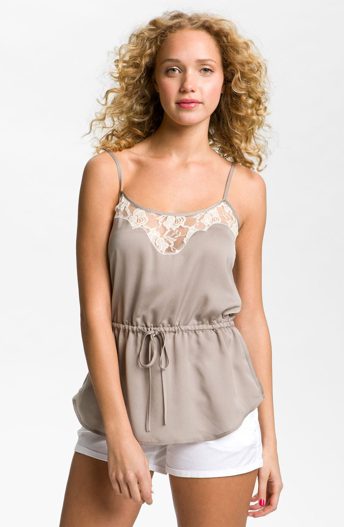 Main Image - Frenchi® Lace Camisole (Juniors)