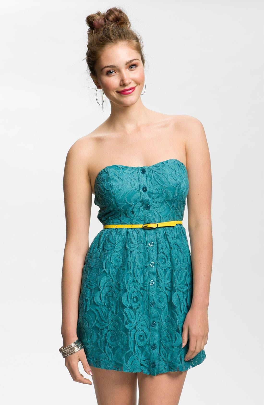 Main Image - Fire Belted Strapless Lace Dress (Juniors)