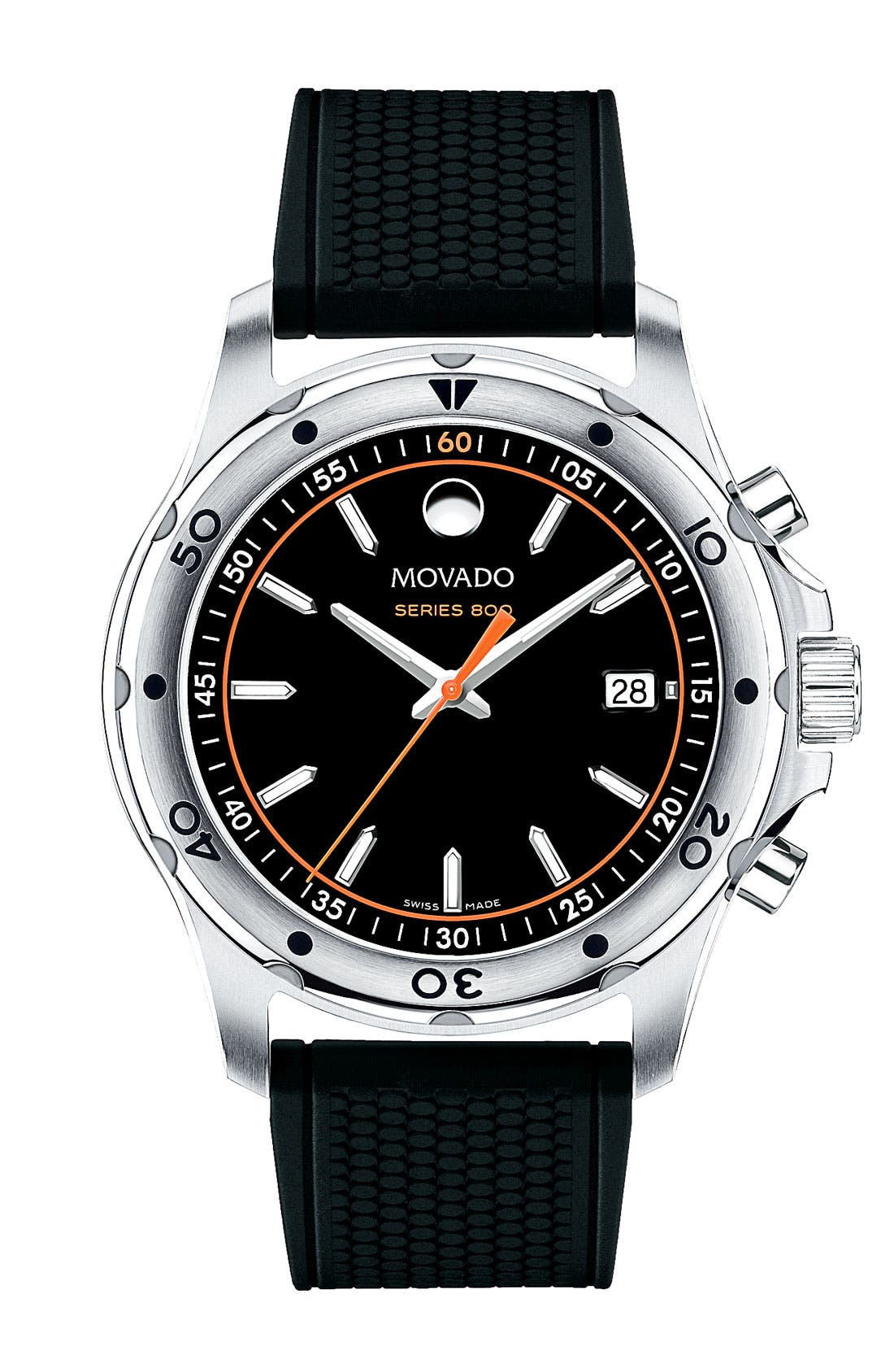 Alternate Image 1 Selected - Movado 'Series 800' Rubber Strap Watch