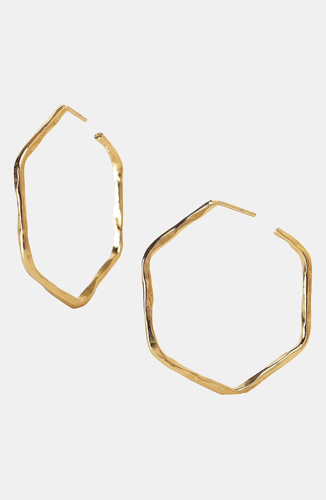 Main Image - Argento Vivo Hammered Geometric Hoop Earrings