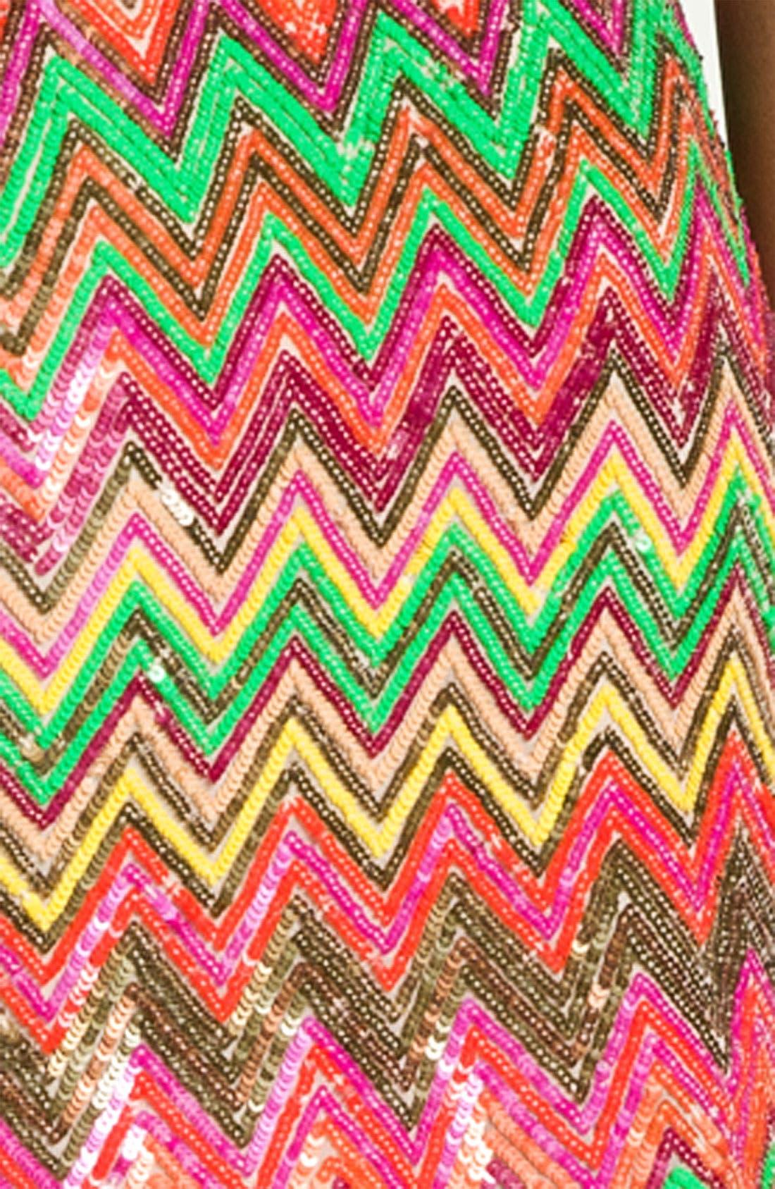 Alternate Image 3  - Haute Hippie Chevron Sequin Miniskirt
