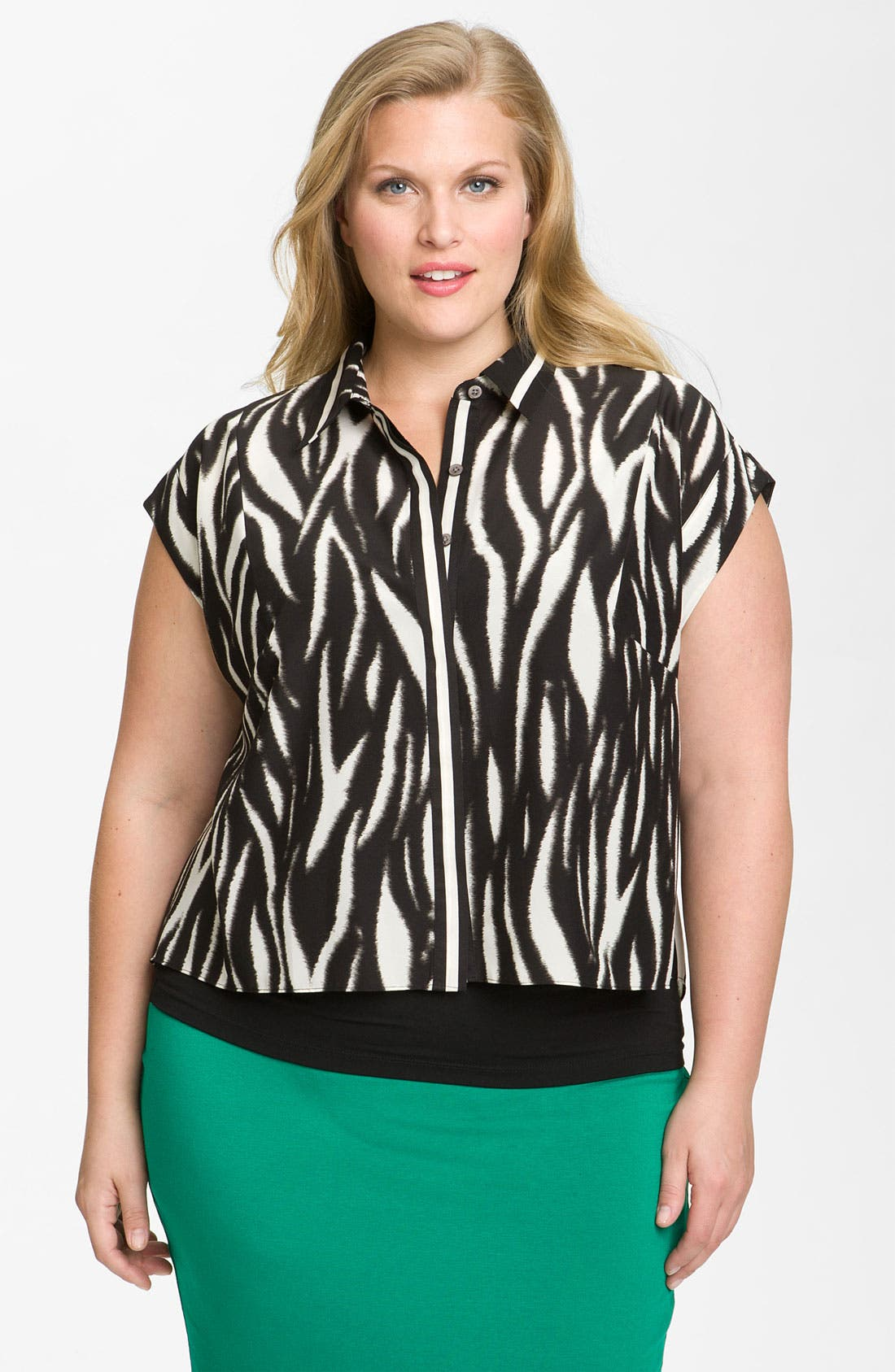 Alternate Image 1 Selected - Vince Camuto 'Ikat Tiger' Blouse (Plus)