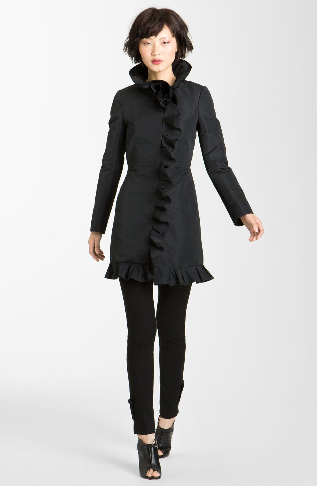 Alternate Image 1 Selected - RED Valentino Ruffle Front Coat