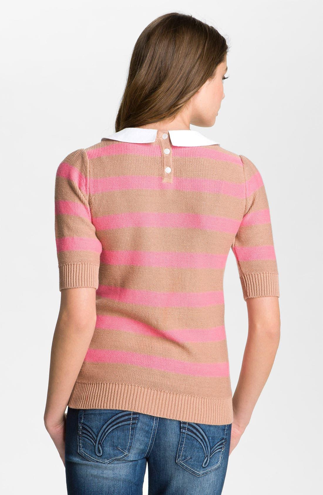 Alternate Image 2  - Frenchi® Peter Pan Collar Stripe Sweater (Juniors)