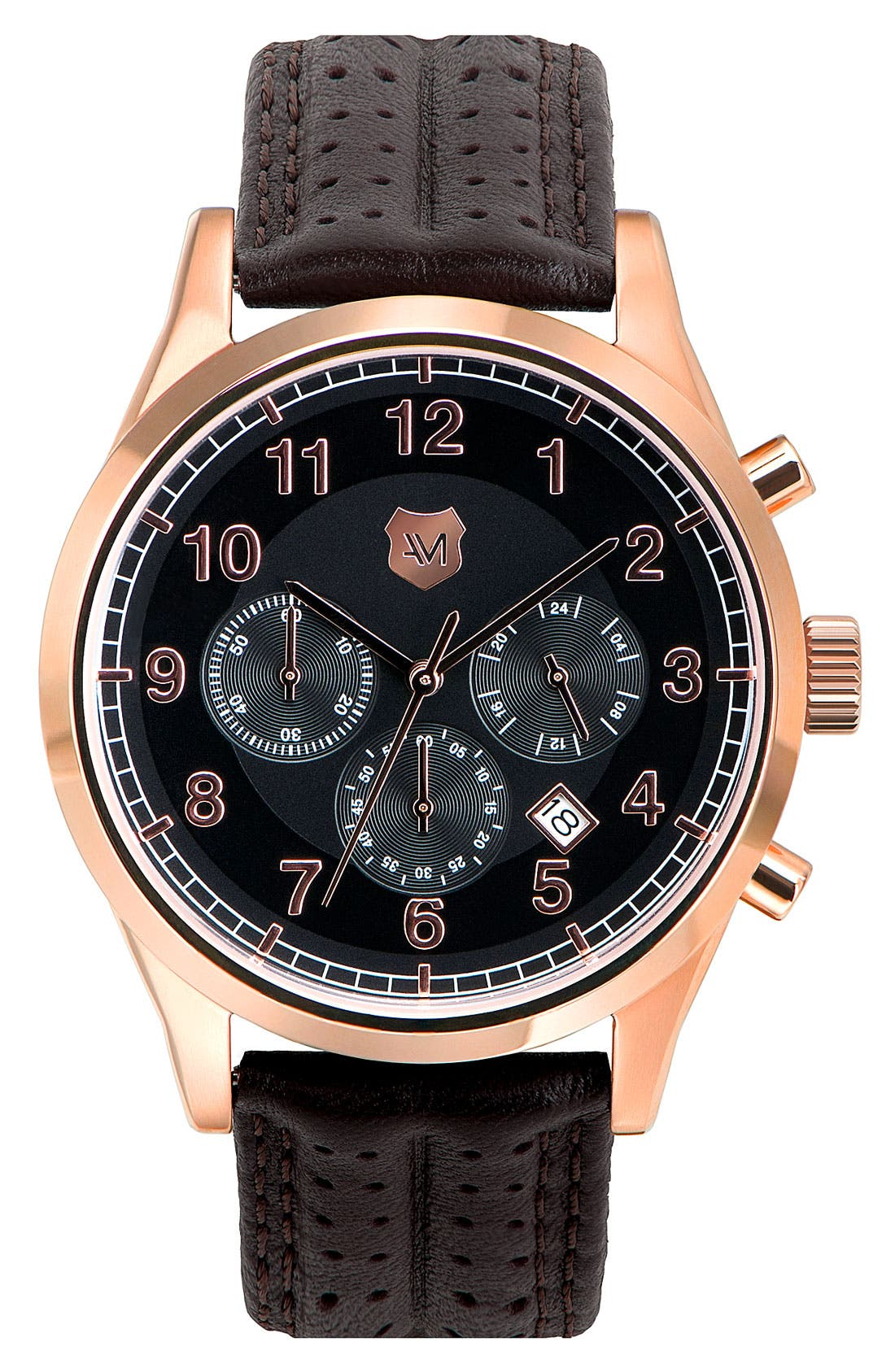 Alternate Image 1 Selected - Andrew Marc Watches 'Club Blazer' Chronograph Leather Strap Watch