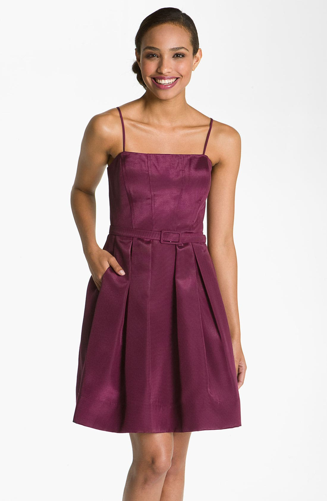 Main Image - Eliza J Belted Spaghetti Strap Fit & Flare Dress
