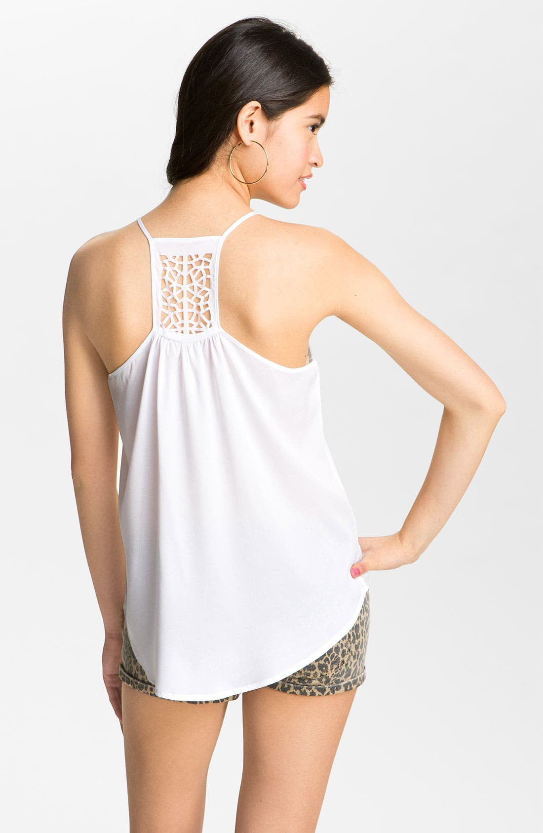Alternate Image 2  - Love on a Hanger Laser Cut Camisole (Juniors)
