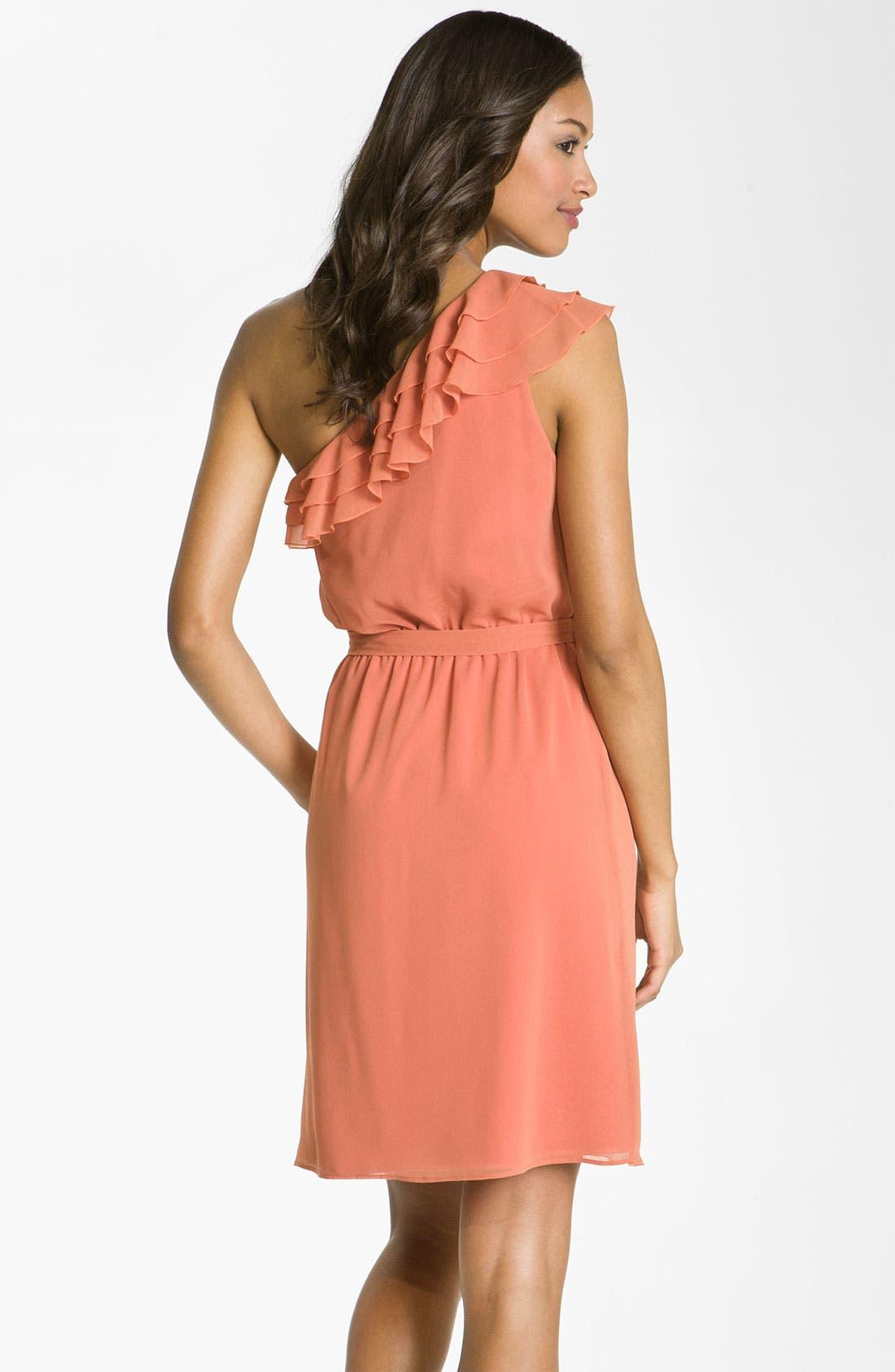 Alternate Image 2  - Jessica Simpson One Shoulder Ruffle Trim Chiffon Dress