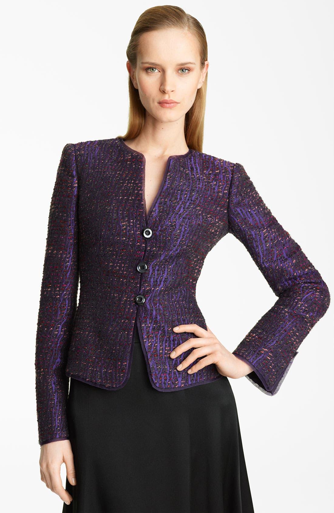 Main Image - Armani Collezioni Lamé Textured Tweed Jacket