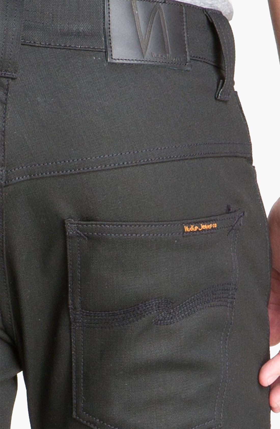 Alternate Image 4  - Nudie 'Thin Finn' Skinny Jeans (Dry Black)