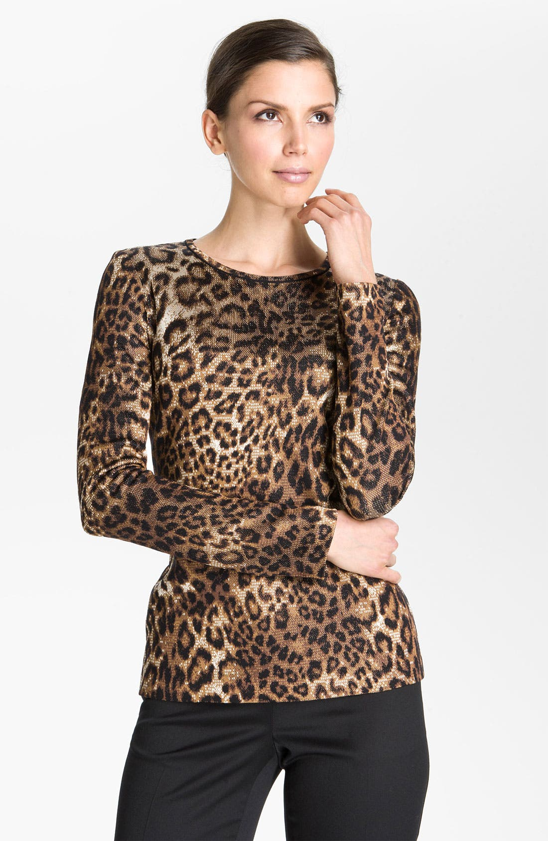 Main Image - St. John Collection Cheetah Jacquard Sweater