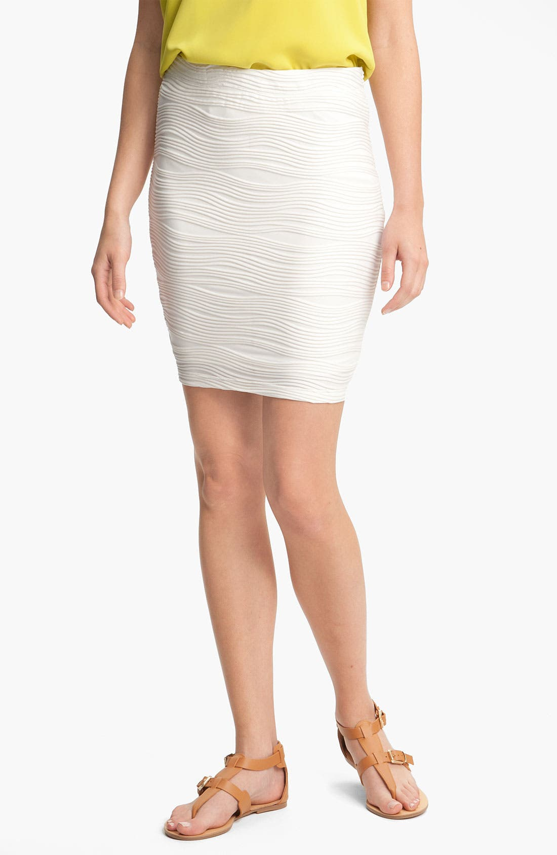 Main Image - Lily White Textured Bandage Skirt (Juniors)
