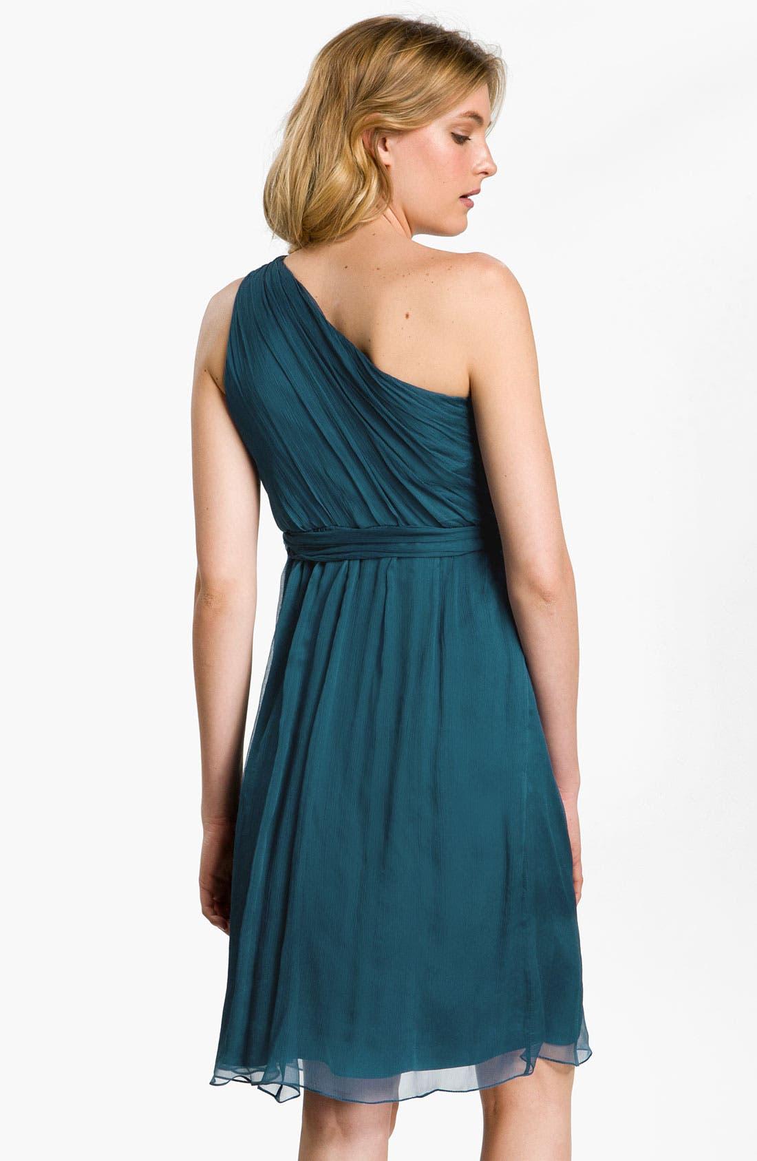 Alternate Image 2  - Amsale One Shoulder Belted Silk Chiffon Dress