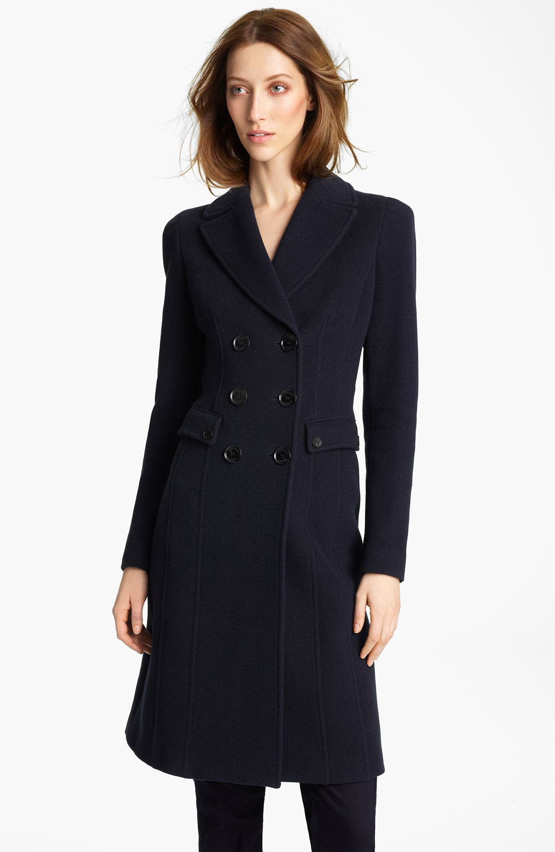 Main Image - Burberry London Double Breasted Ottoman Wool Coat