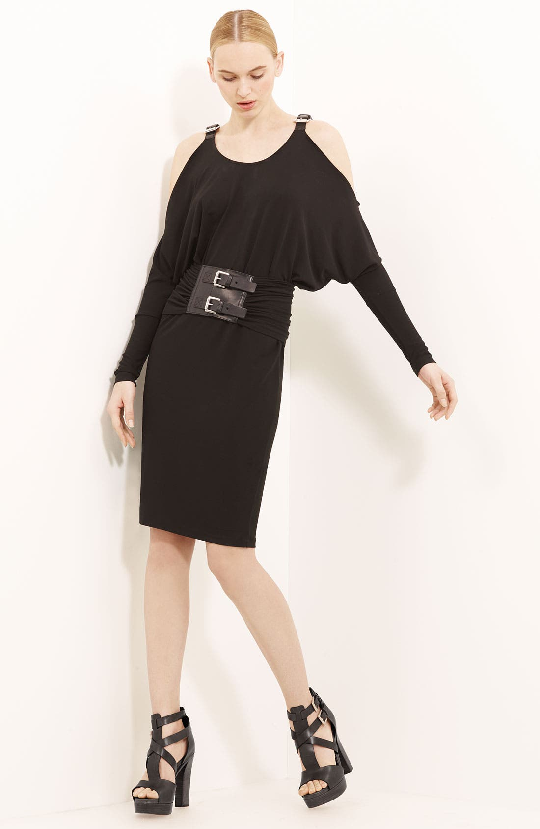 Main Image - Michael Kors Belted Matte Jersey Dress