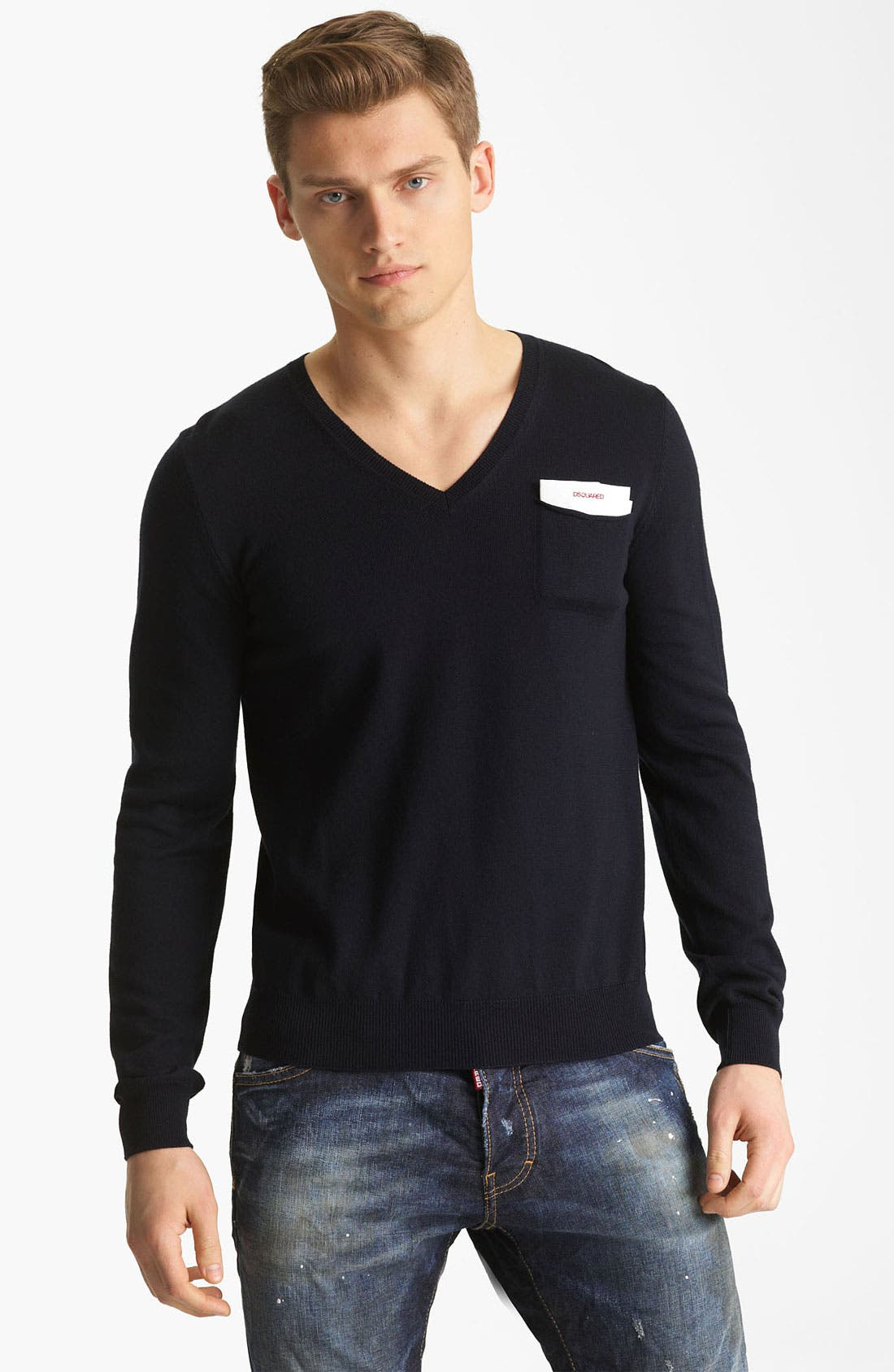 Alternate Image 1 Selected - Dsquared2 V-Neck Wool Sweater