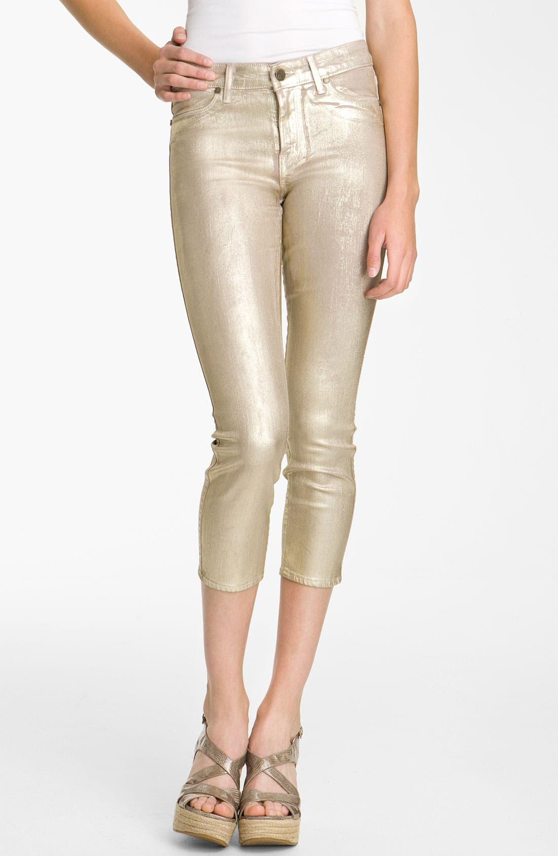Alternate Image 1 Selected - CJ by Cookie Johnson 'Believe Sparkle' Coated Crop Denim Leggings (Gold Dust)