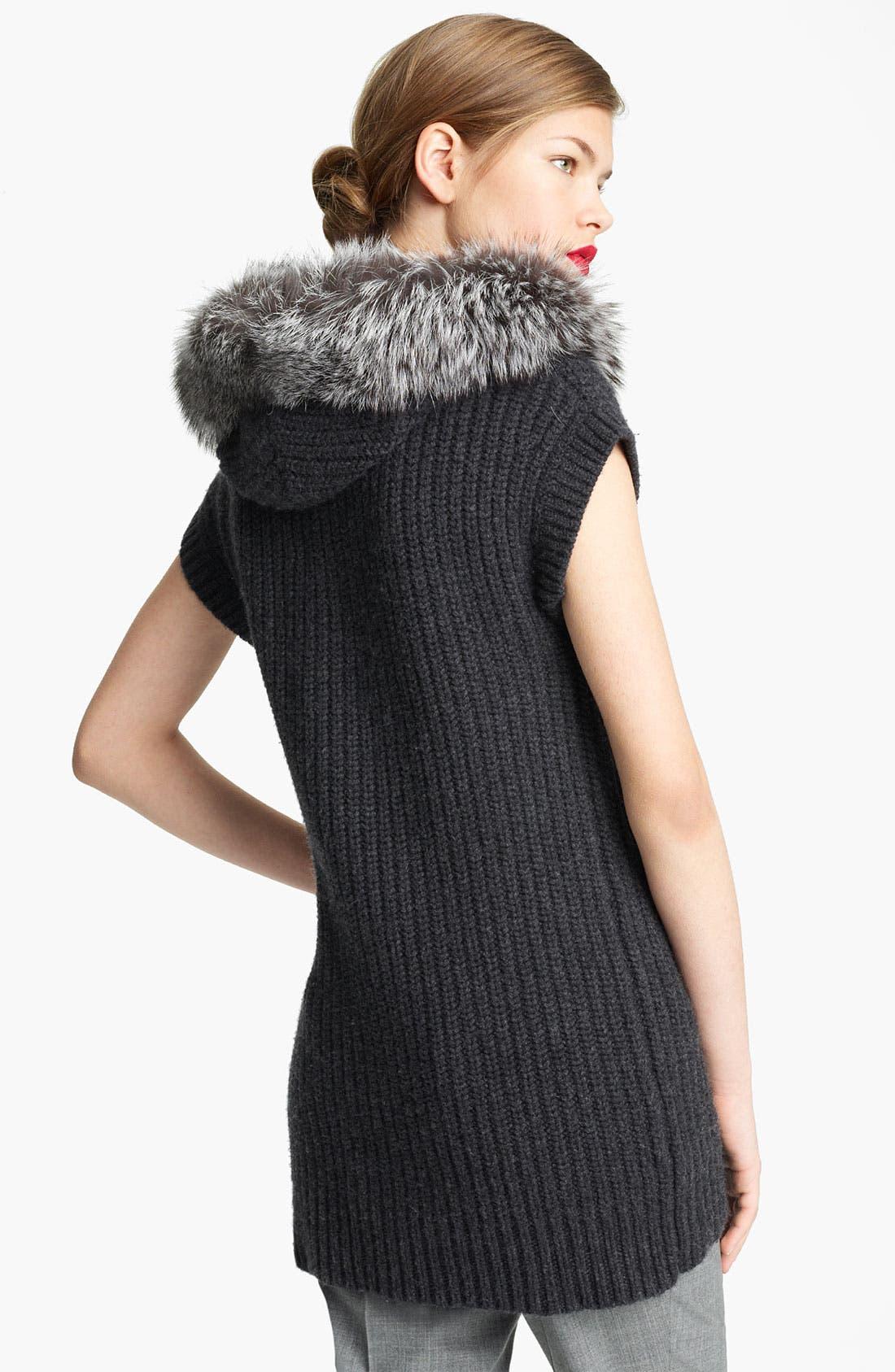 Alternate Image 2  - Michael Kors Genuine Fox Fur Trim Hooded Sweater