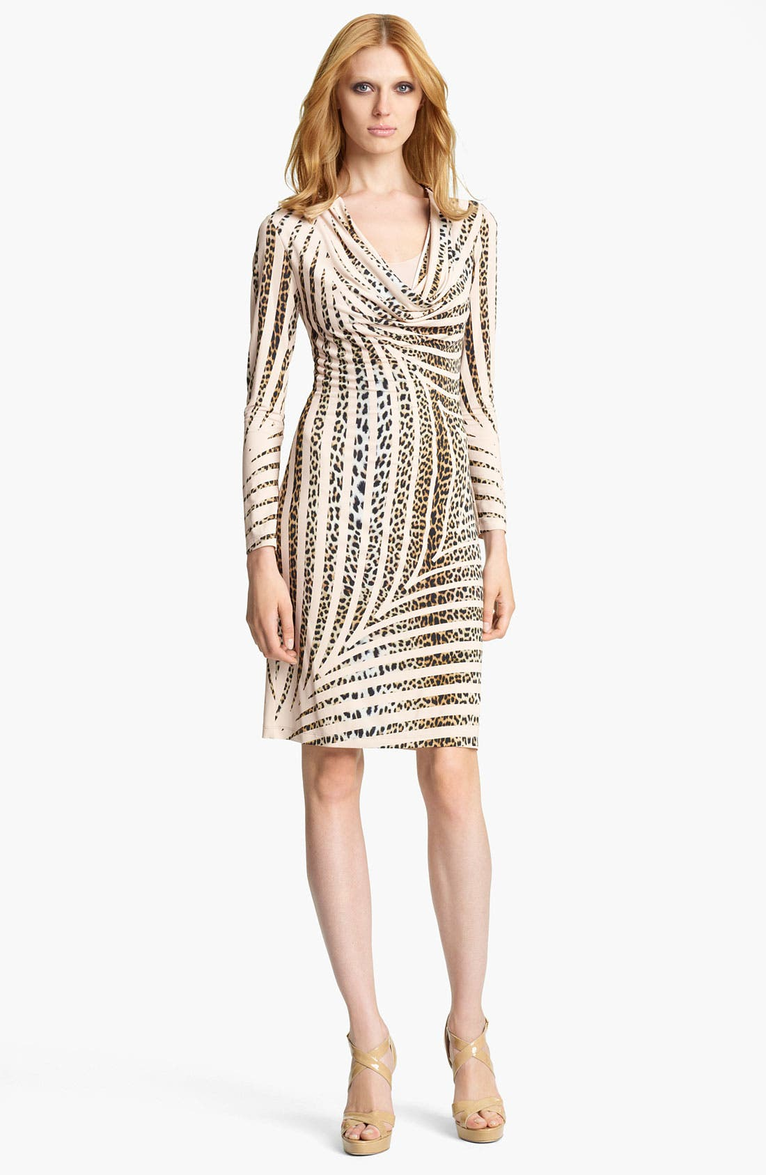 Main Image - Blumarine Animal Stripe Cowl Neck Dress