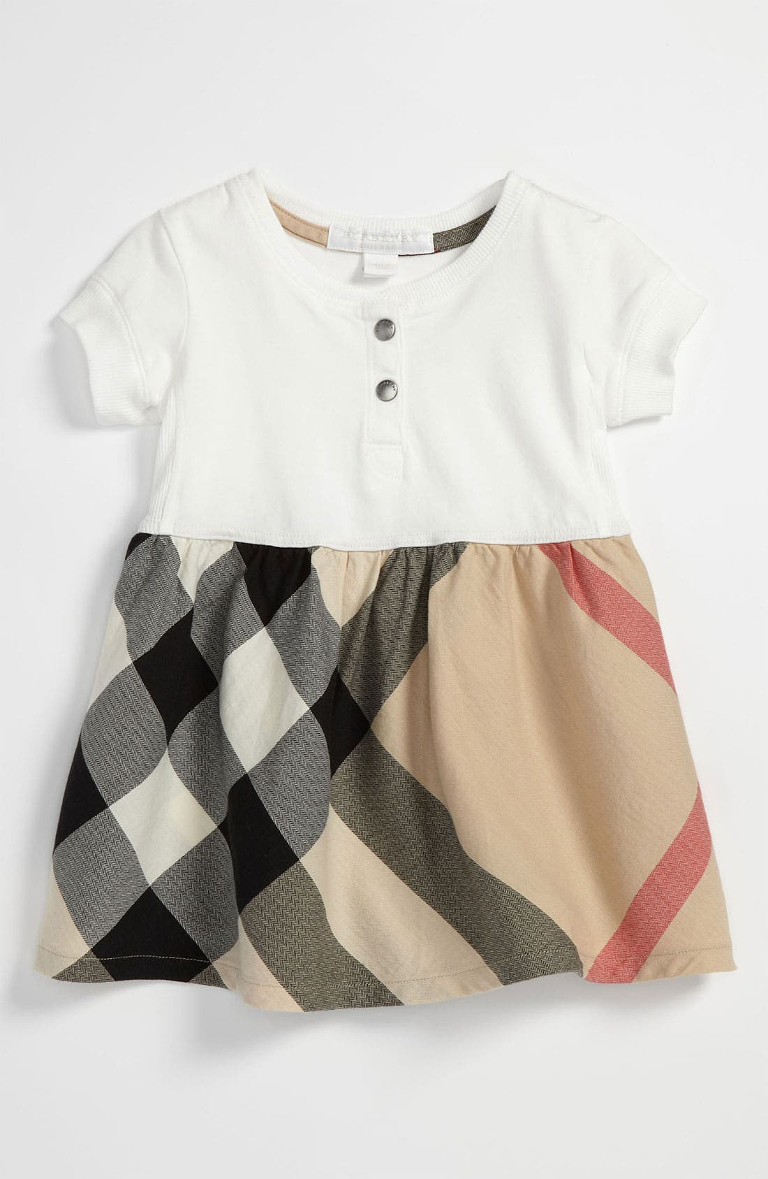 Main Image - Burberry Check Print Dress (Baby)