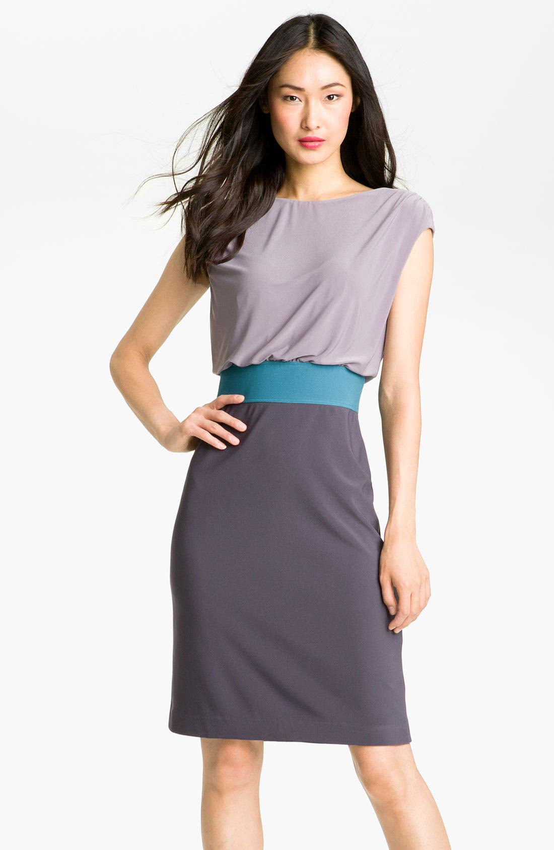 Main Image - Adrianna Papell Colorblock Blouson Jersey Dress