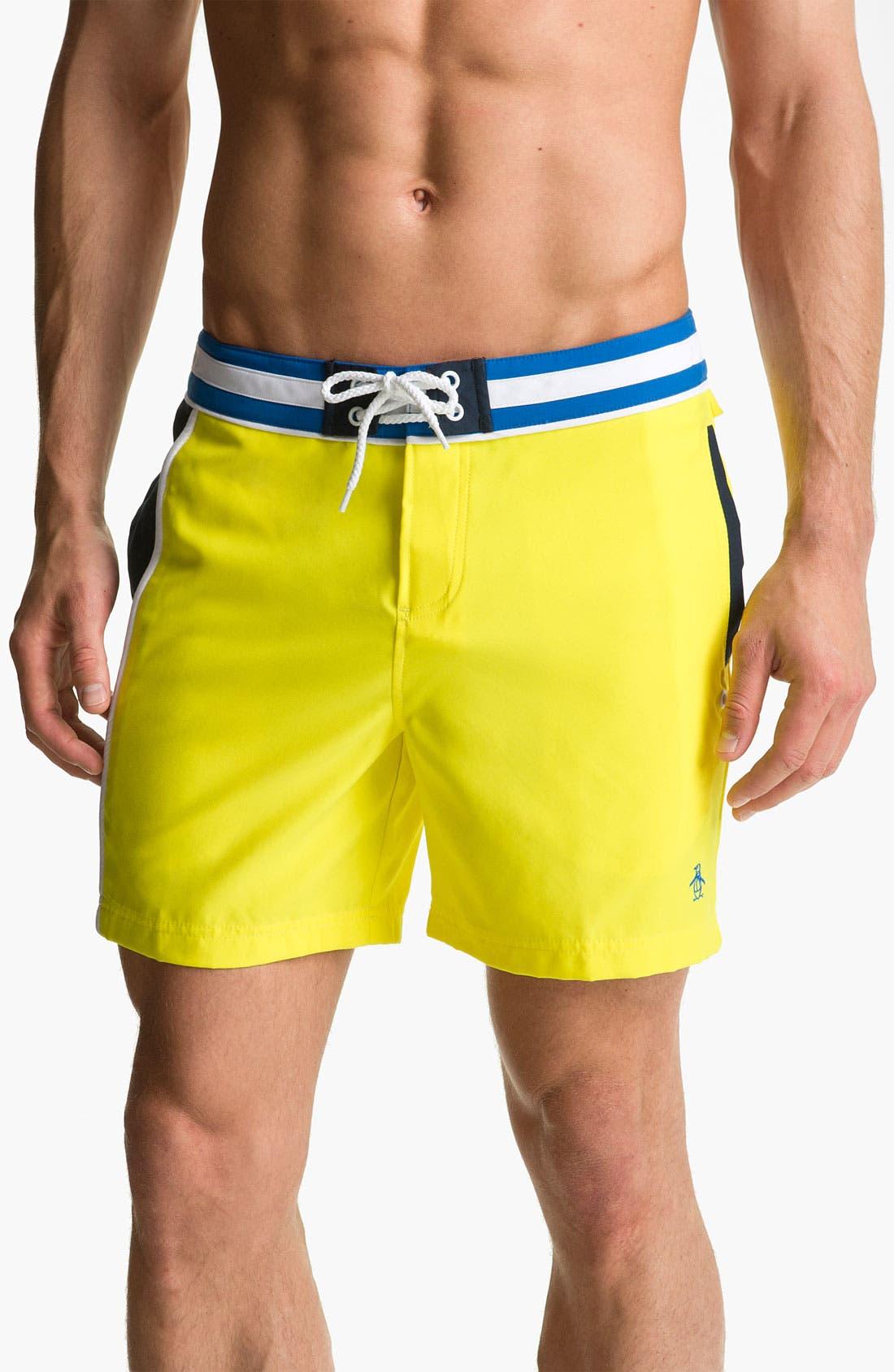 Main Image - Original Penguin Colorblock Volley Swim Shorts