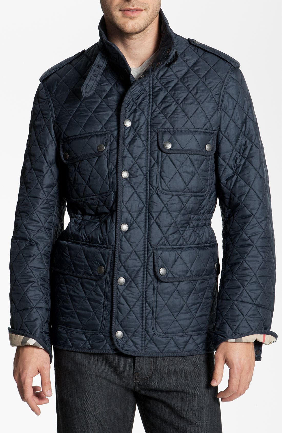 Main Image - Burberry Brit Quilted Trim Fit Jacket