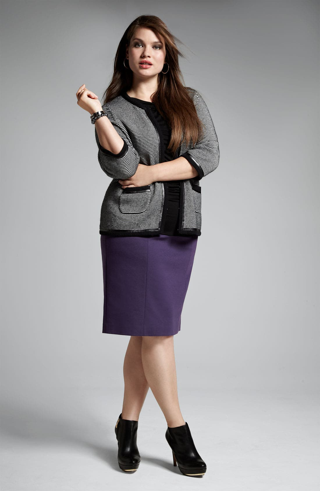 Alternate Image 5  - Sejour Leather Trim Sweater Jacket (Plus)