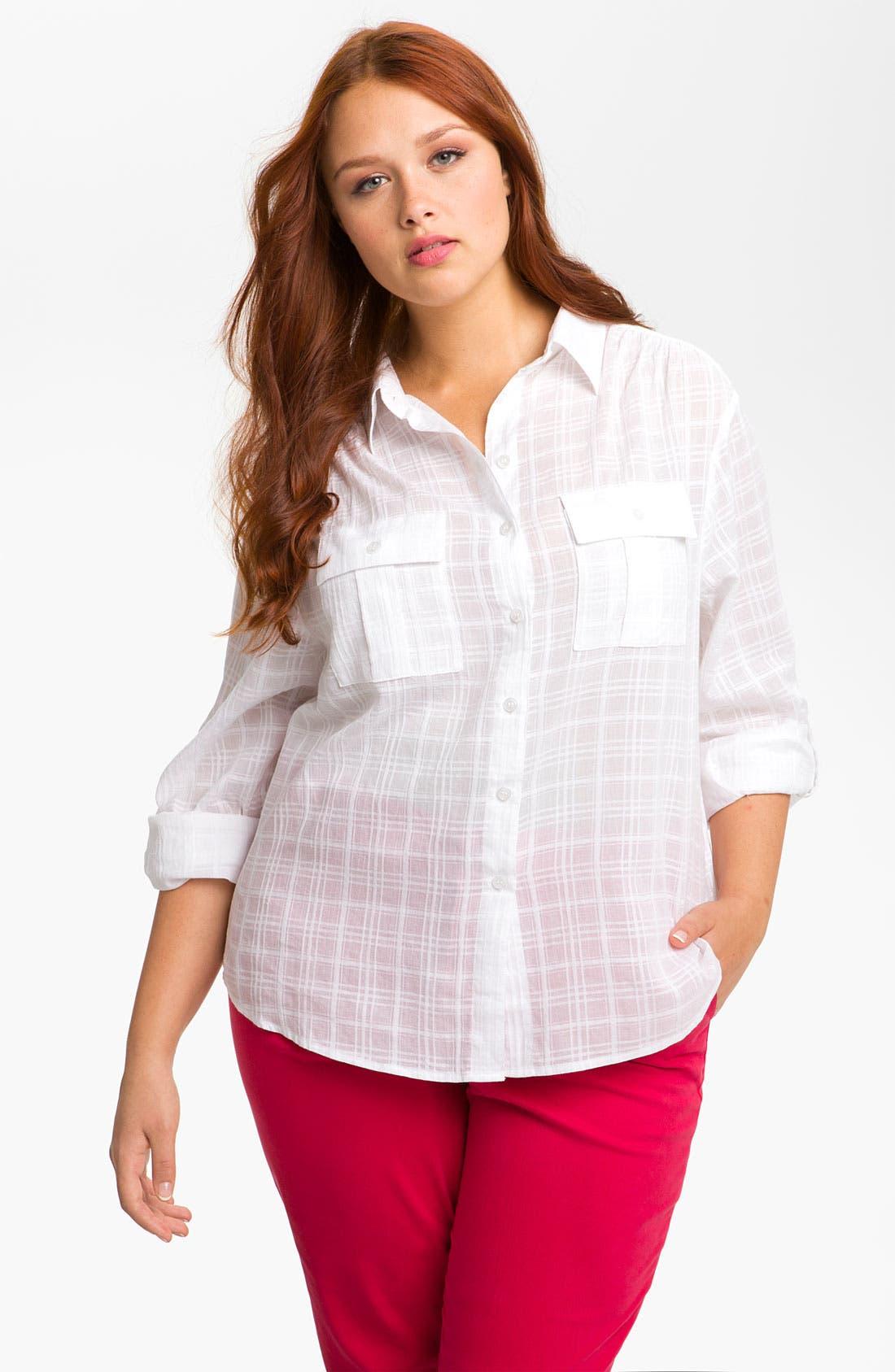 Main Image - Sandra Ingrish Roll Sleeve Shadow Plaid Shirt (Plus)