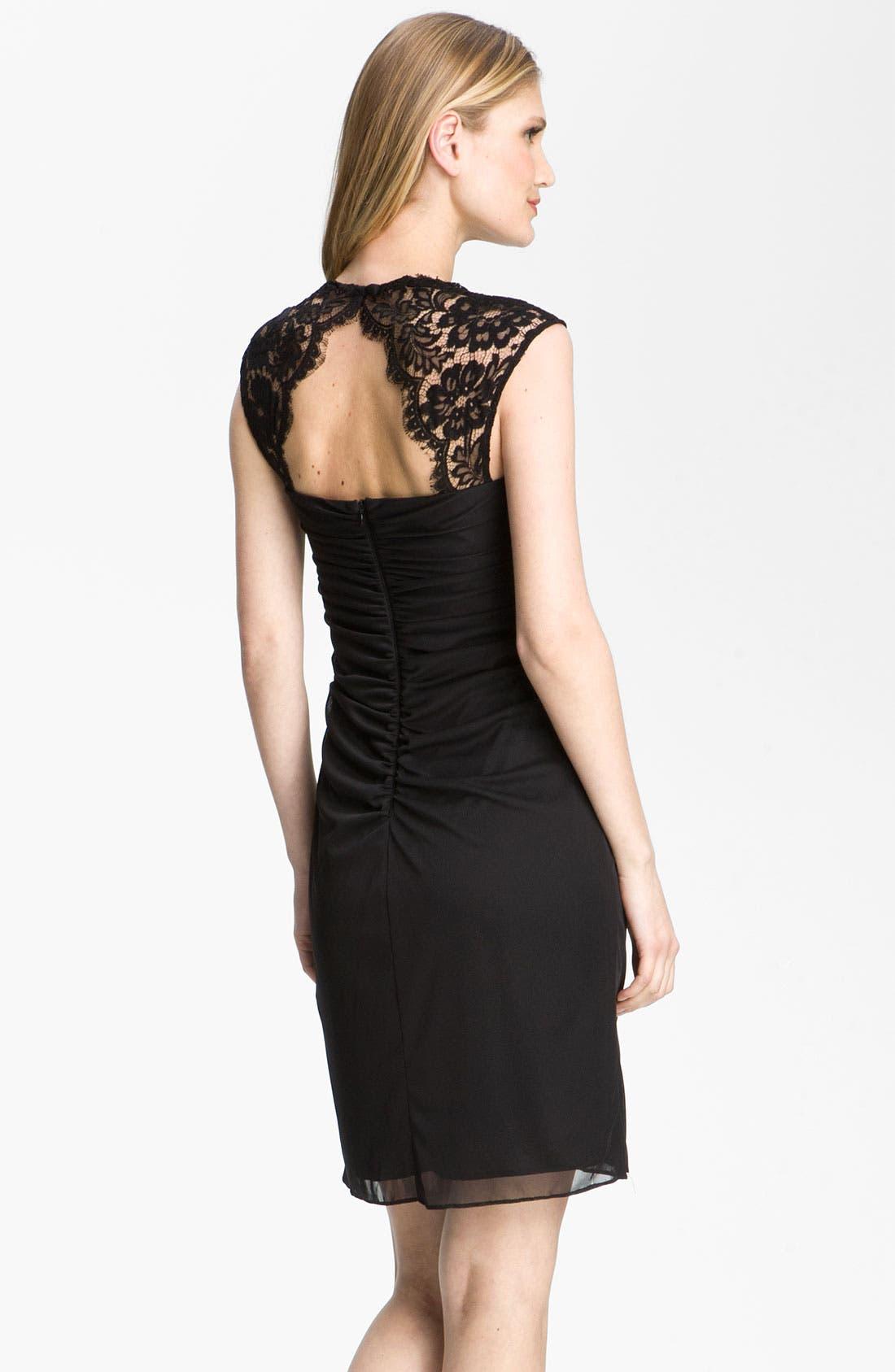 Alternate Image 2  - Xscape Lace Yoke Draped Mesh Dress