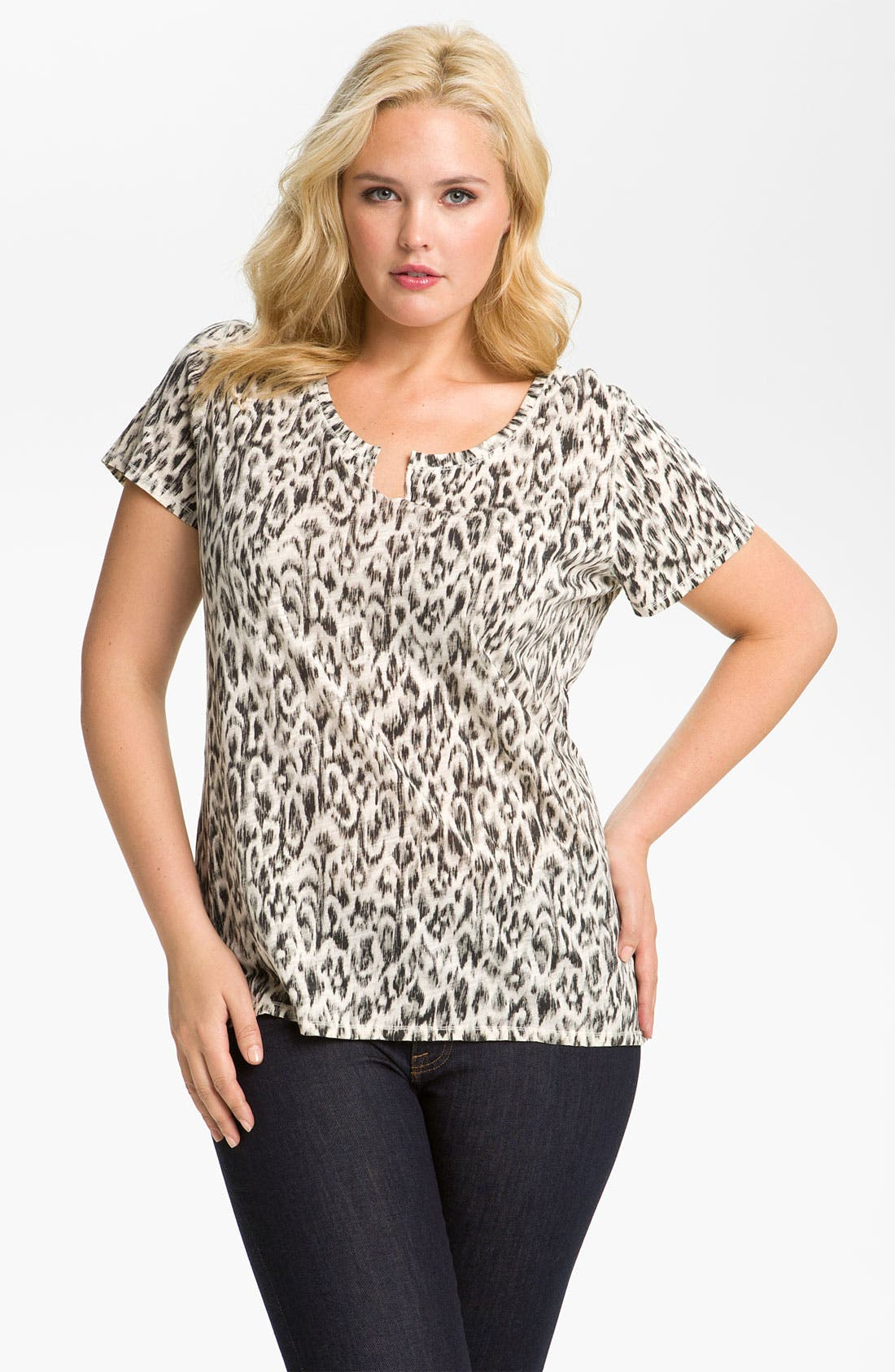 Alternate Image 1 Selected - Lucky Brand Animal Print Tee (Plus)