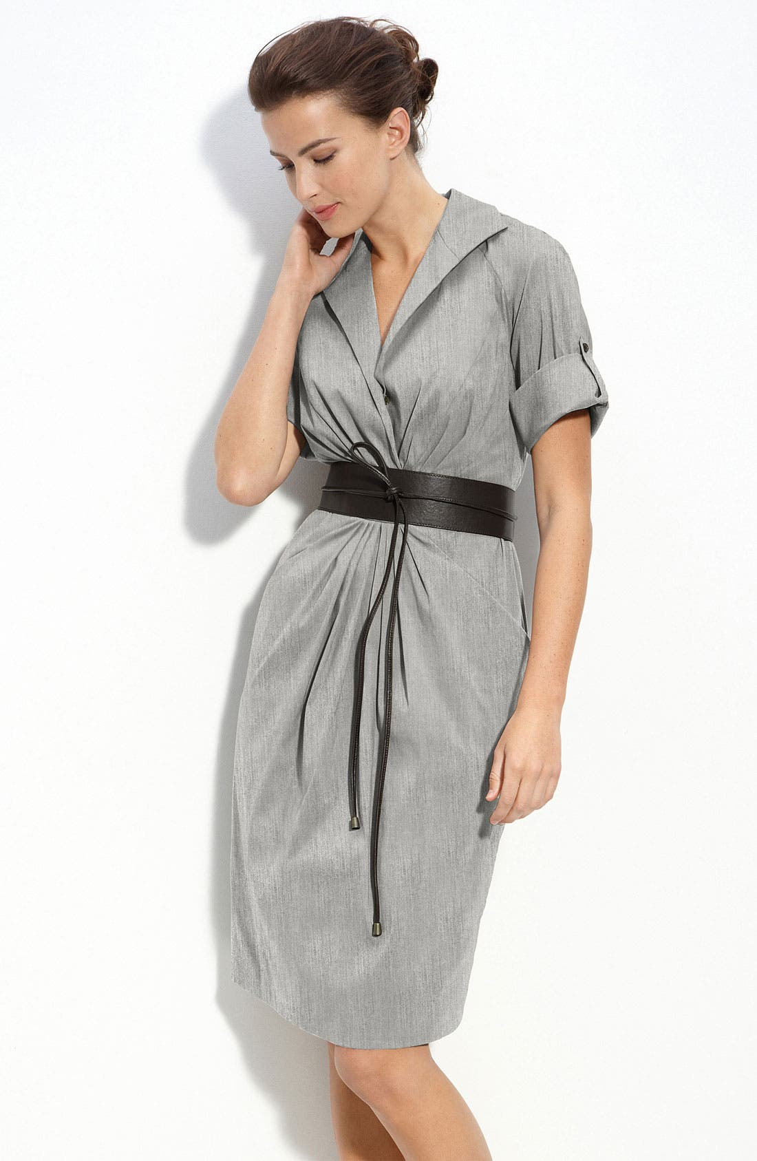 Alternate Image 1 Selected - Lafayette 148 New York Belted Ruched Shirtdress