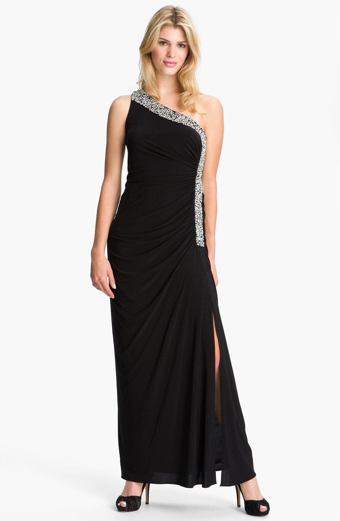 Main Image - Betsy & Adam Embellished Trim One Shoulder Jersey Gown