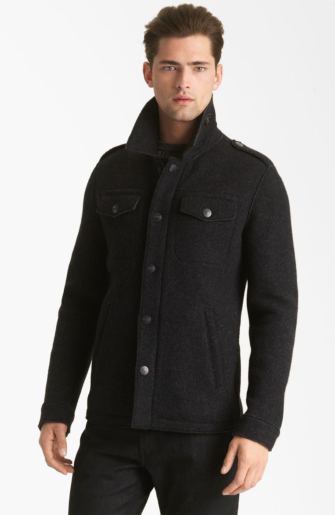 Main Image - Armani Collezioni Boiled Wool Military Jacket