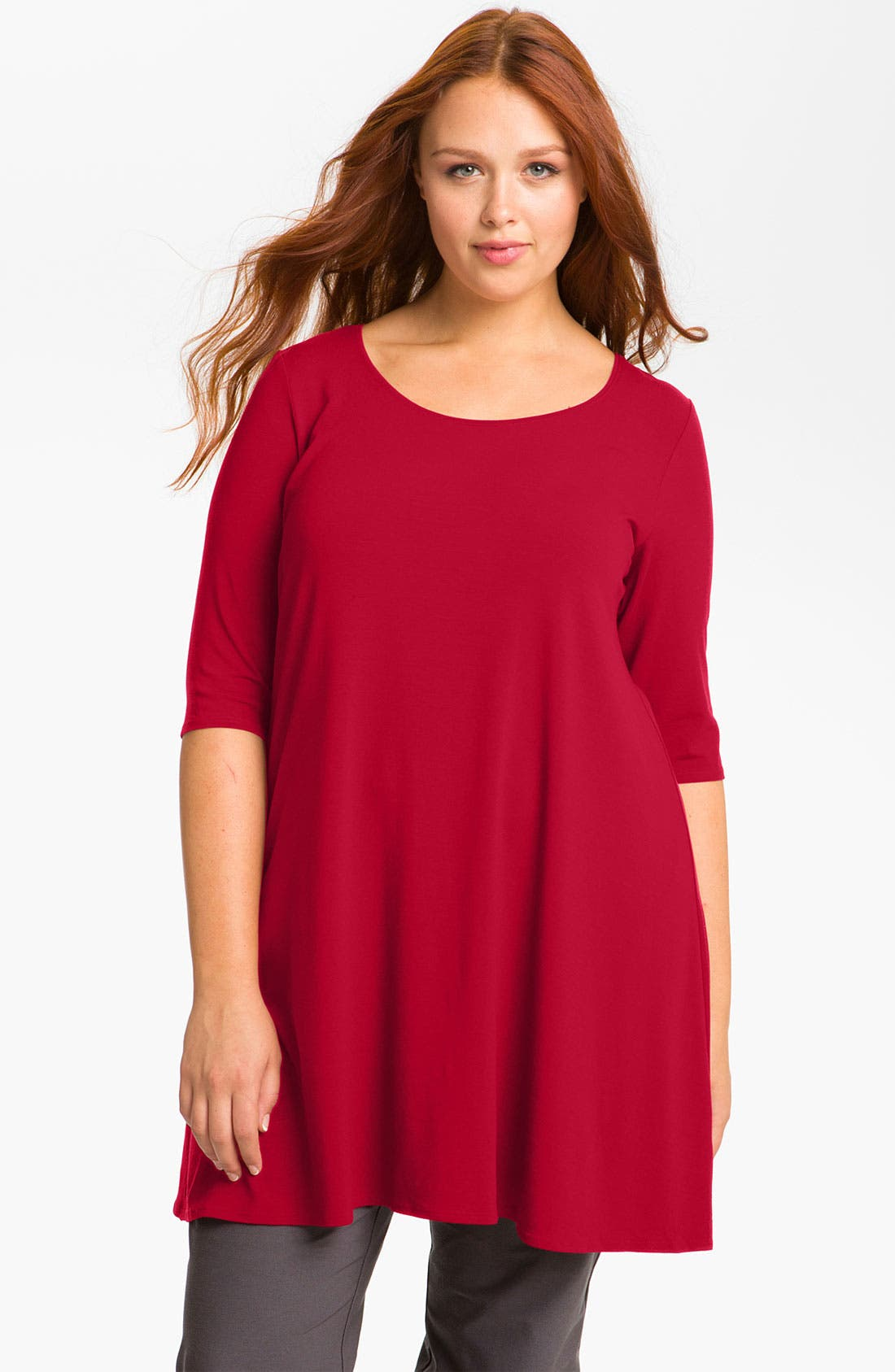 Alternate Image 1 Selected - Eileen Fisher Elbow Sleeve Knit Tunic (Plus)