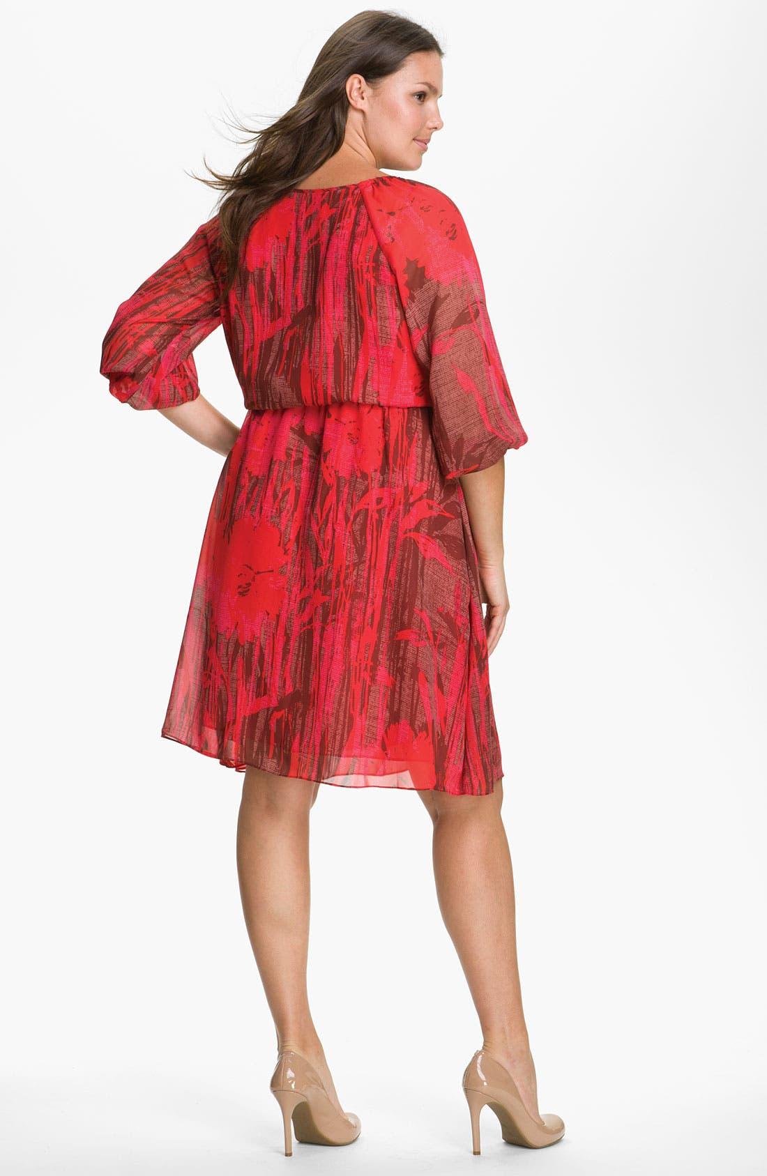 Alternate Image 2  - Adrianna Papell Chiffon Gather Sleeve Dress (Plus)